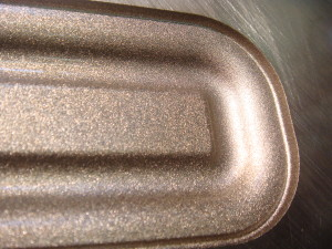 Close up of fine grained finish