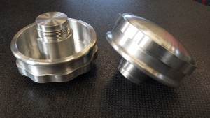 Breather caps CNC machined from aluminium billet