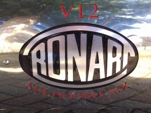 Exhaust silencer mounted Ronart logo. Backfilled and polished.